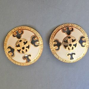 Vintage Berebi Enamel Gold Tone Round Earrings